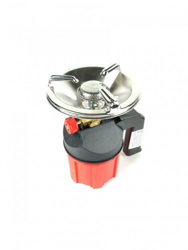 Gázfőző műanyagtestű piros-fekete